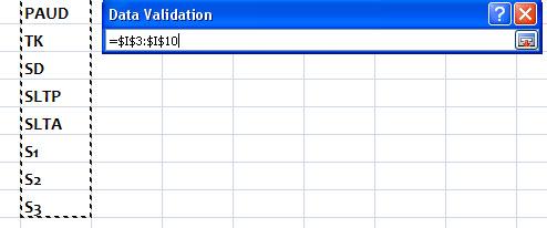 Drop Down List di Excel