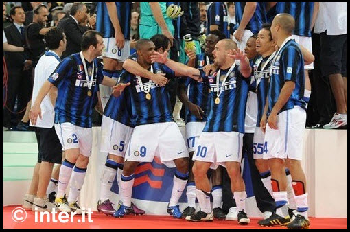 Inter player celebrate Coppa Italy after won with Palermo in the final