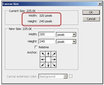 Ukuran awal Layer 1 (320 px X 240 px)