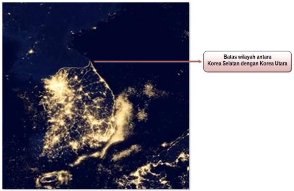 Gambar 3. Citra Satelit Black Marble Negara Korea Selatan Dengan Korea Utara