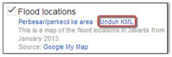 Unduh Lokasi Banjir dalam Bentuk Format Data KML