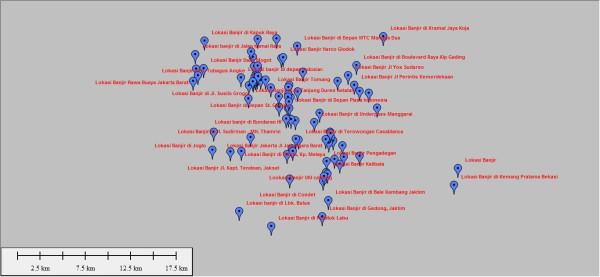 Lokasi Banjir dengan Format Data KML